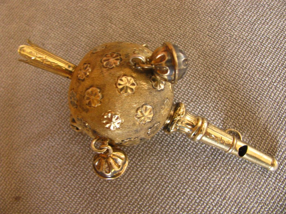 RARE!!!ANTIQUE EUROPEAN BABY RATTLE SOLID SILVER WITH GILD WHISLE 18TH CENTURY