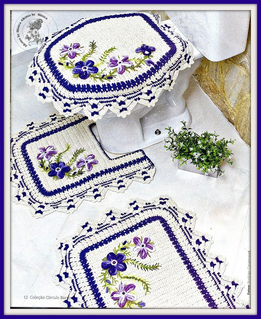 Hermosos decorativos visten nuestro baño a puro color y crochet ...