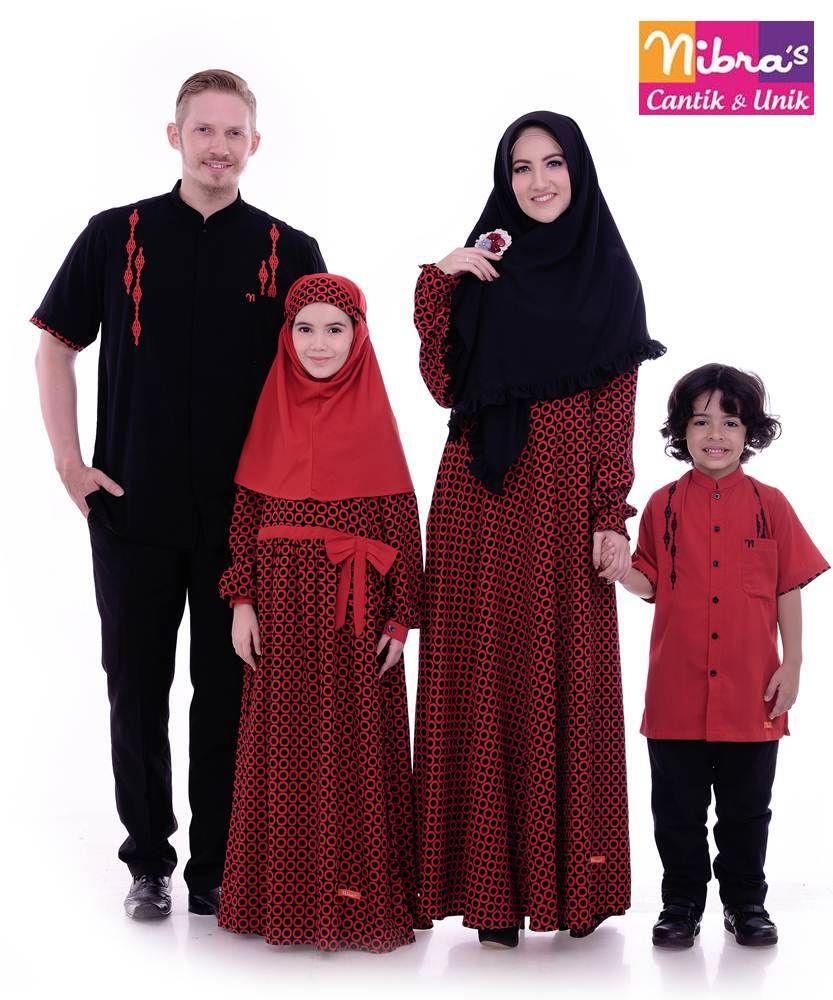 Sarimbit Keluarga 11 MerahBusana muslim couple keluarga warna
