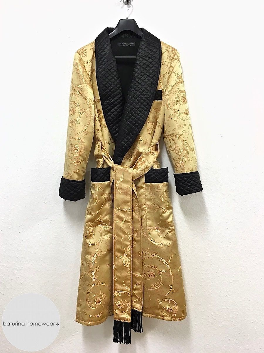 b1c8e6fee Gold paisley and black quilted silk dressing gown for men. Classic old  fashioned vintage menswear style smoking robe for lounging and sleeping.
