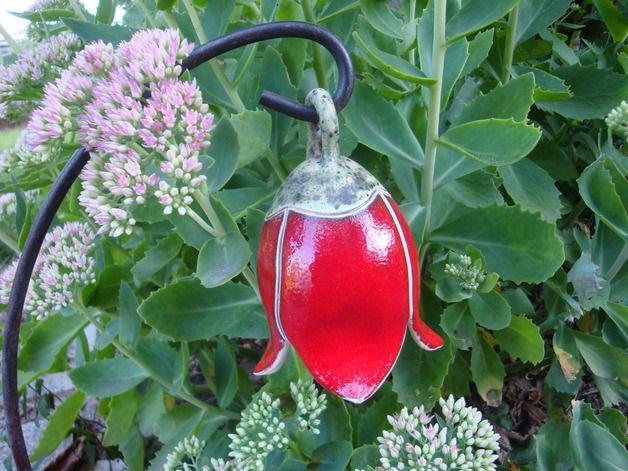 Glocken Blume 11 Cm Garten Keramik Rot Pflanzen Gartenstecker