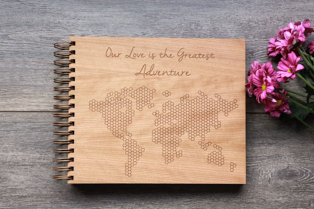Wedding guest book wooden laser engraved hexagon world map custom alfalfa designs standard wooden world map guest book design features plenty of hexagons and the quote gumiabroncs Images