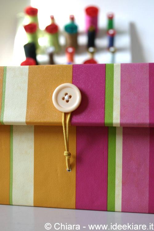 Ricoprire una scatola da scarpe con coperchio incorporato con la carta guest post scatola - Porta tisane fai da te ...