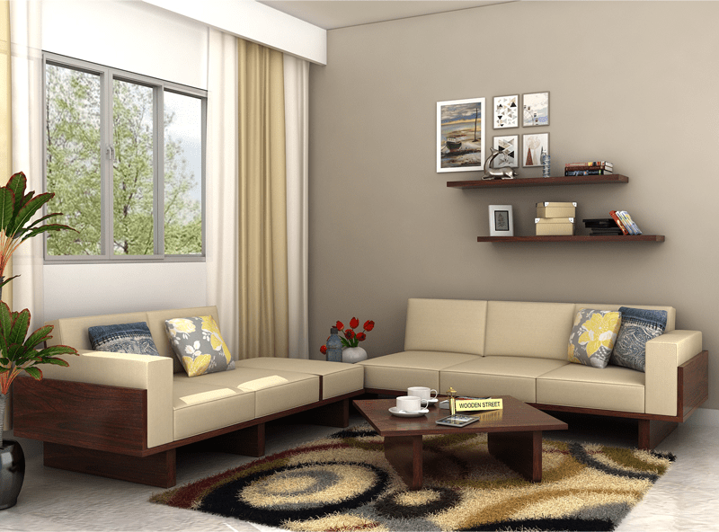Buy This Azlin Wooden Sofa 3 2 Set To Add Style And Comfort With A Modern Touch To Your Living Room The Fabric Uphols With Images Wooden Sofa Wooden Sofa Set Sofa Set