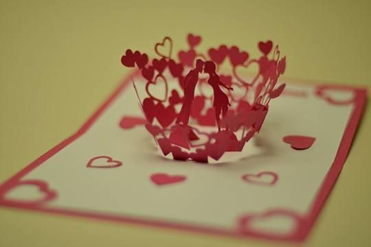 DIY Valentine Day Pop Up Card Kissing Couple. As You Open The Card,