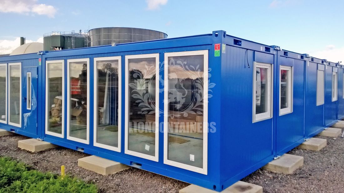 A 24 bay modular office container units with toilets, showers, kitchen and laboratory.