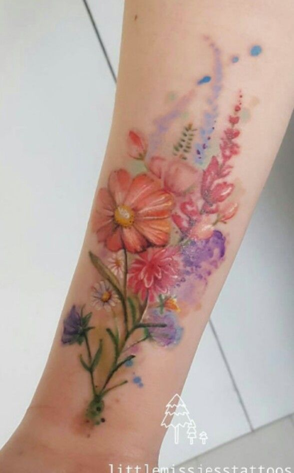 Watercolor Flowers Bouquet Tattoo Tattoos For Women Tattoos