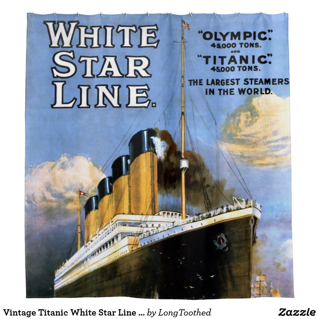 Vintage Titanic White Star Line Advertisement Shower Curtain