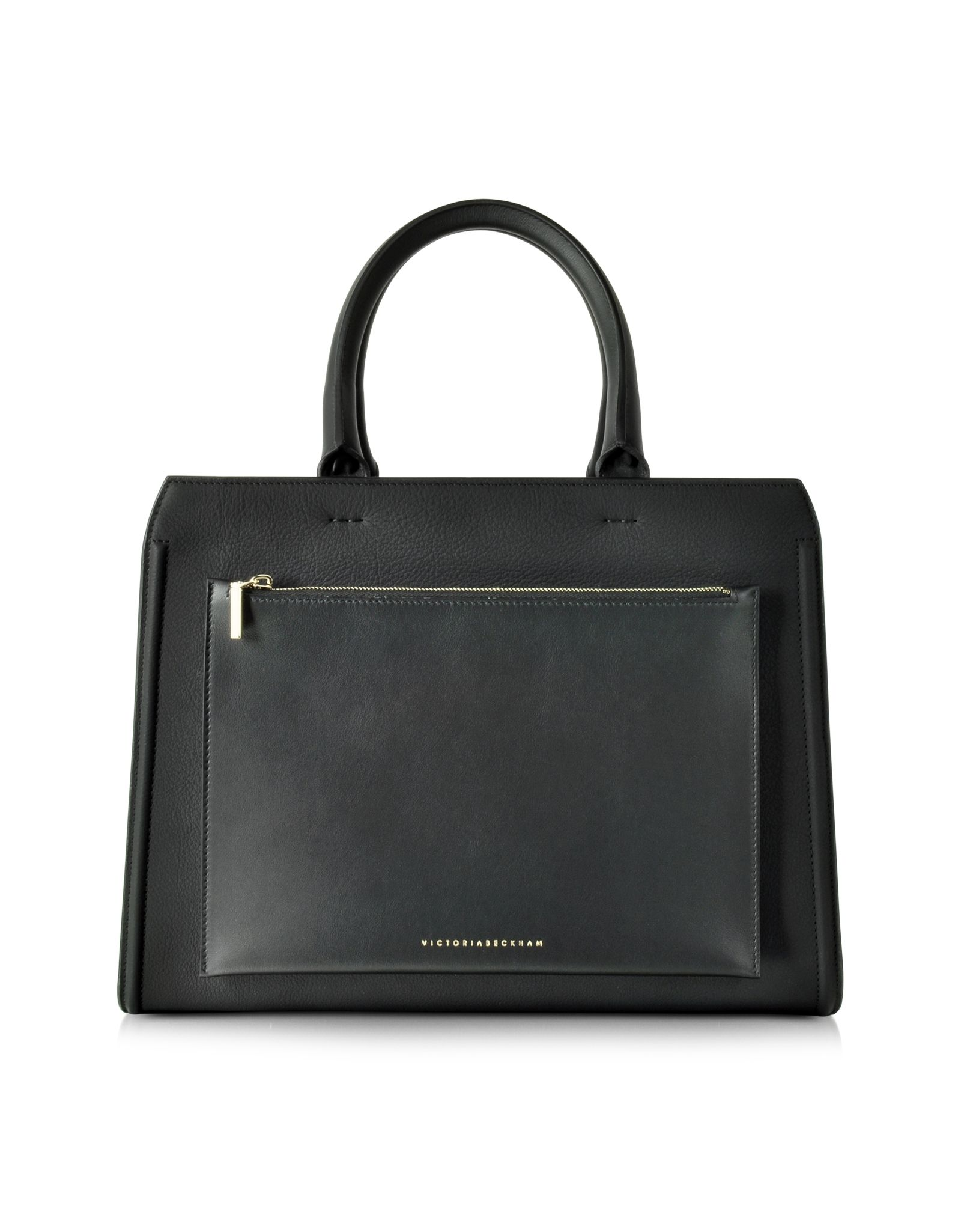 Black Leather City Victoria Bag crafted in handcrafted in buffalo leather, is a sophisticated vintage inspired structured bag with feminine appeal. Featuring double rolled handles, outer zip pocket, center zip divider pocket, detachable shoulder strap, internal large zip pocket and silver tone hardware detail. Signature dust bag included. Made in Italy.