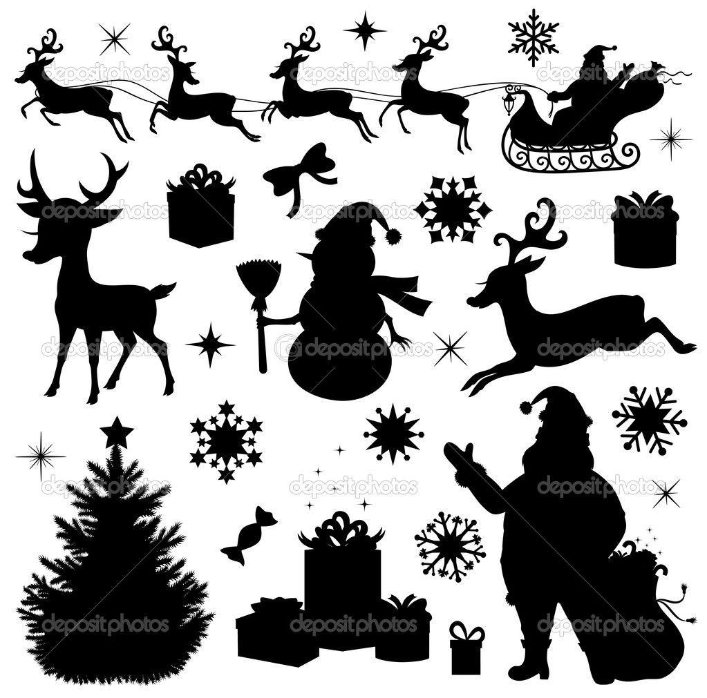 Sammlung Von Einer Weihnachts Silhouetten Weihnachtsbaum Silhouette Weihnachtsschablonen Weihnachten Schattenbilder