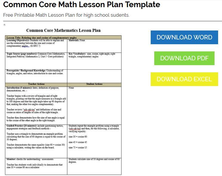 Common Core Math Lesson Plan Template  Editable Common Core