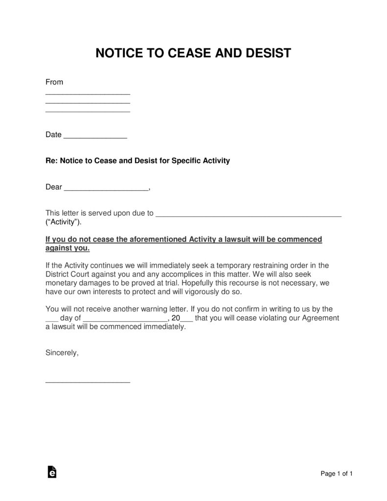 Trademark Cease And Desist Letter Template from i.pinimg.com