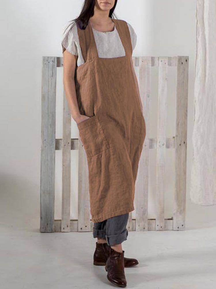 1914f1e482931 S-5XL Japanese Vintage Solid Color Side Pockets Cotton Apron Dress ...