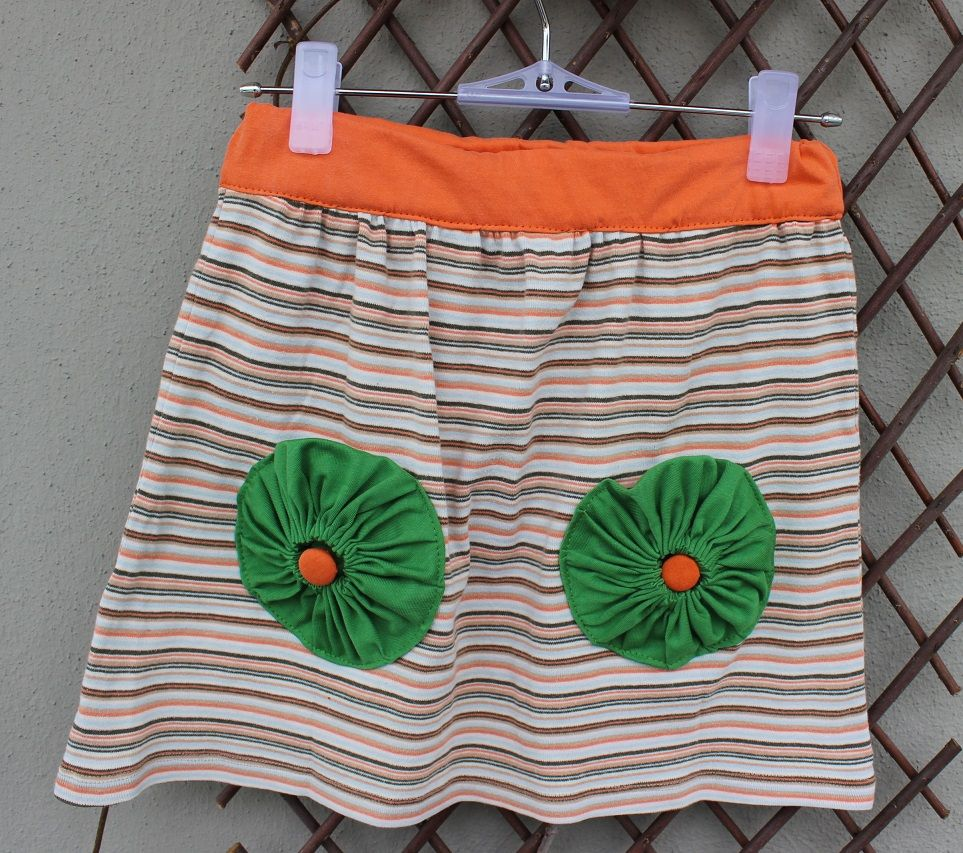 Girl skirt made from old t-shirts.