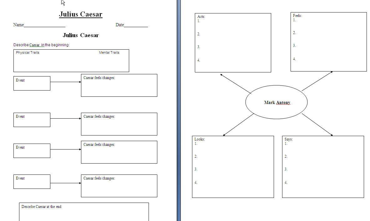 Graphic Organizer For Julius Caesar Shakespeare