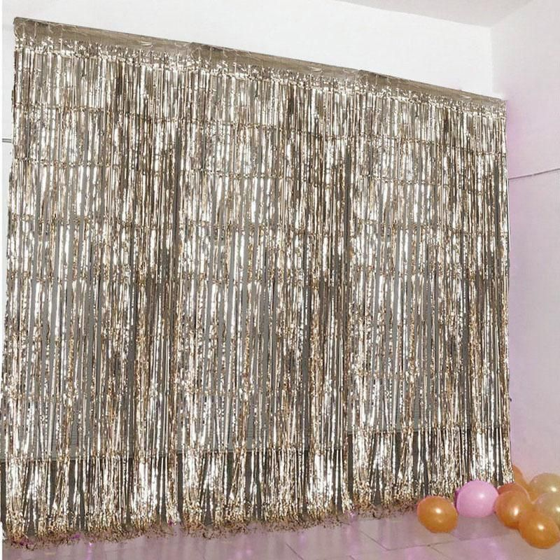 8ft Champagne Metallic Foil Fringe Curtain Gold Birthday Party