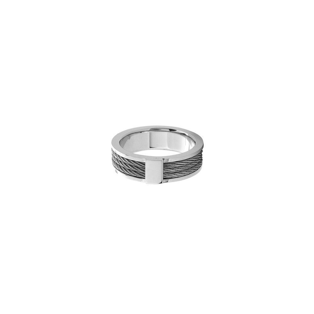 Inox Ring 3 Steel Cable Inlay