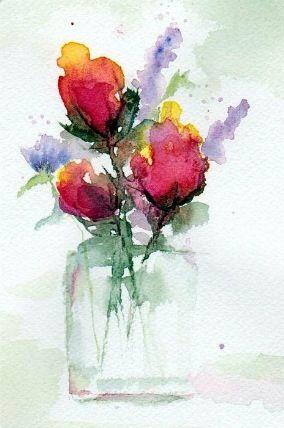 In A Vase Flower Art Watercolor Art Painting