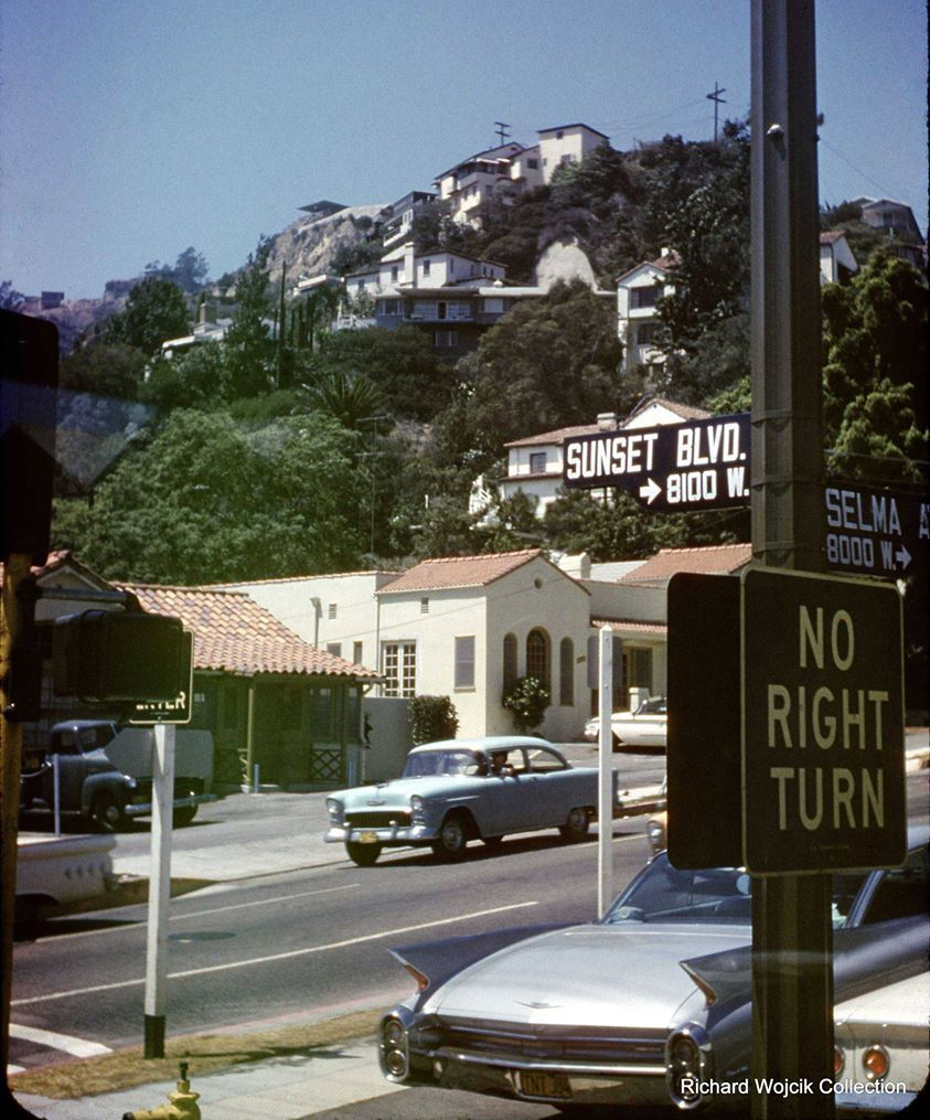 Looking Nw From The Corner Of Sunset Blvd And Selma Ave In 1967 Check Out The Vintage Los Angeles Los Angeles California Photography Los Angeles Photography