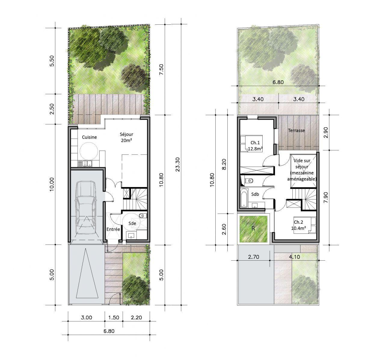 En pente douce habitat intermediaire et individuel pinterest plan logement logement - Plan maison en pente ...