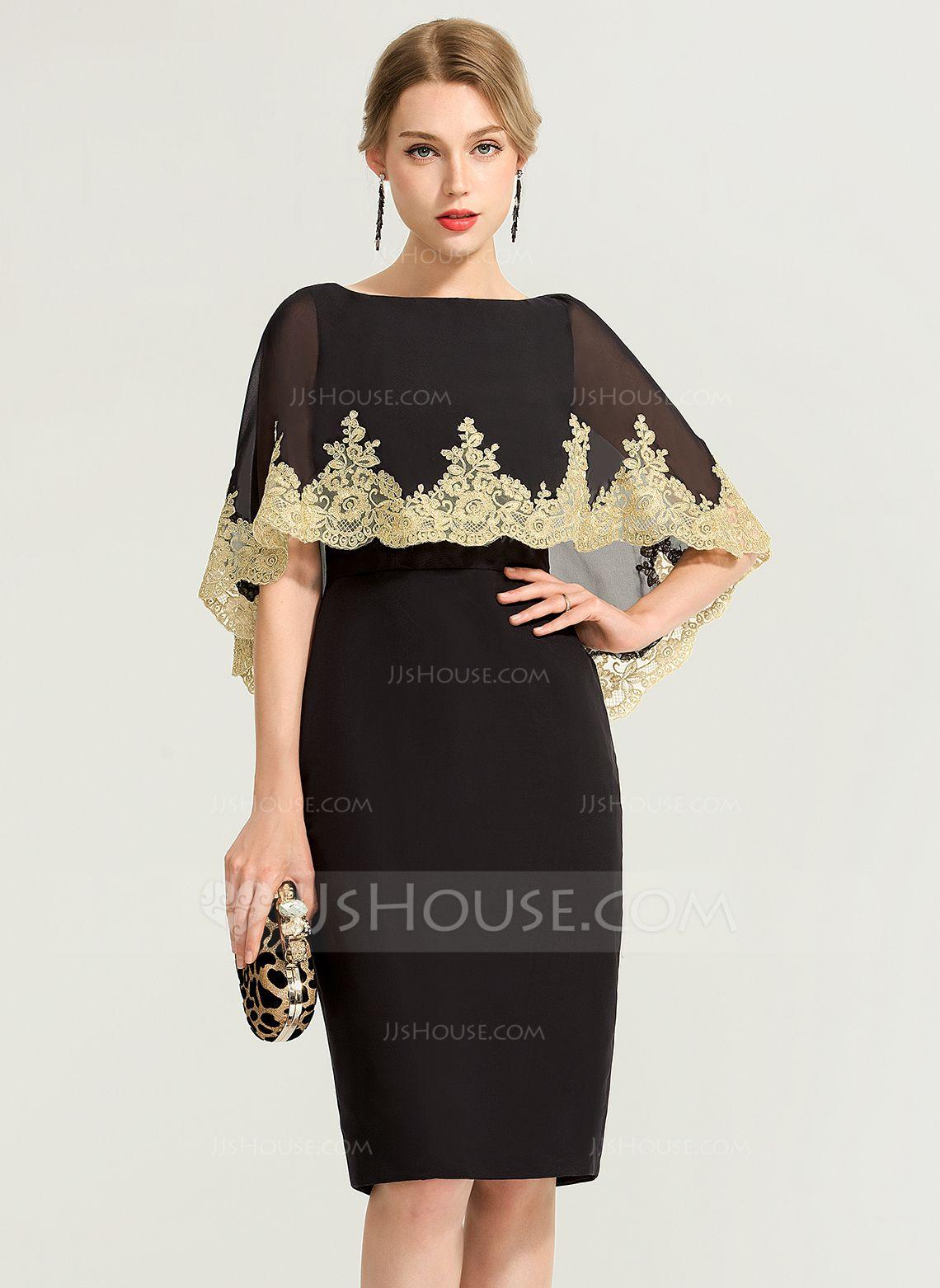 Us 95 00 Sheath Column Scoop Neck Knee Length Chiffon Cocktail Dress With Lace Jj S House Chiffon Cocktail Dress Lace Dress Event Dresses [ 1562 x 1140 Pixel ]