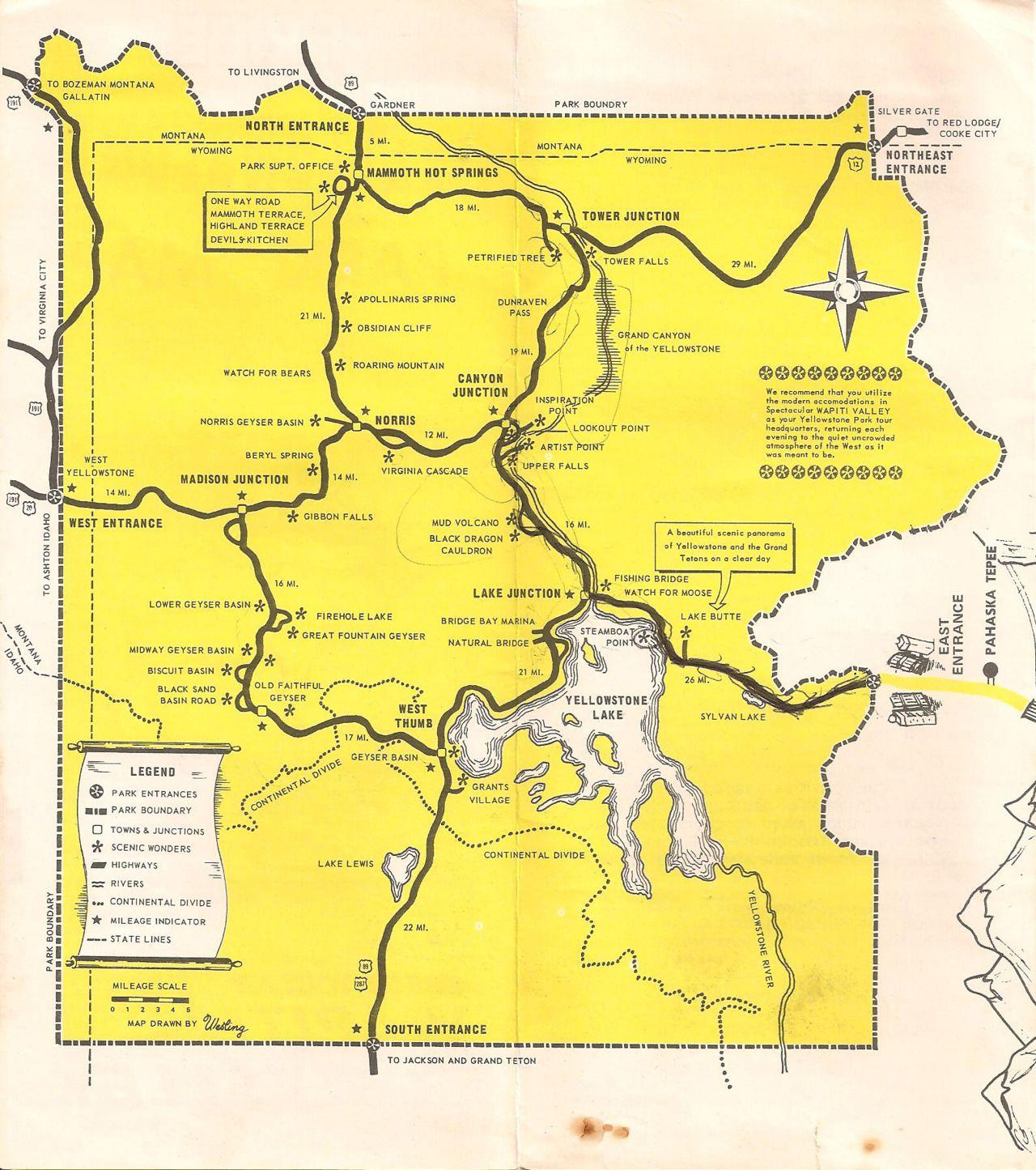 Yellowstone / 1974 | Cartography | Pinterest | Yellowstone map ...