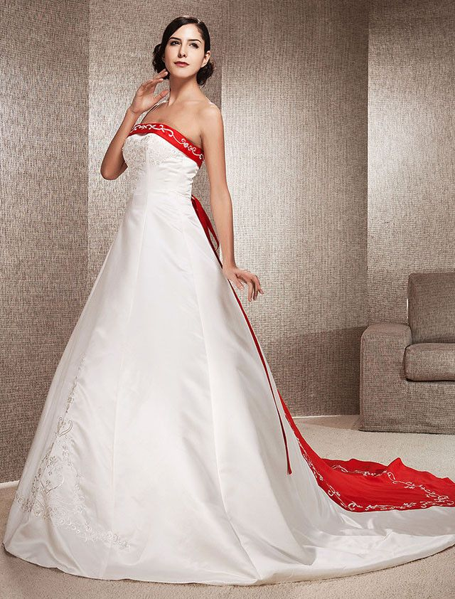 A-Line Princess Strapless Cathedral Train Satin Wedding Dress with ...