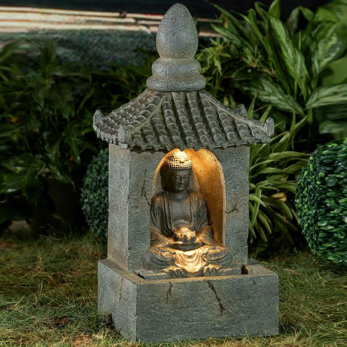 Resin Fiberglass Buddha Water Fountain With Led Light Water Fountain Buddha Garden Fiberglass Resin