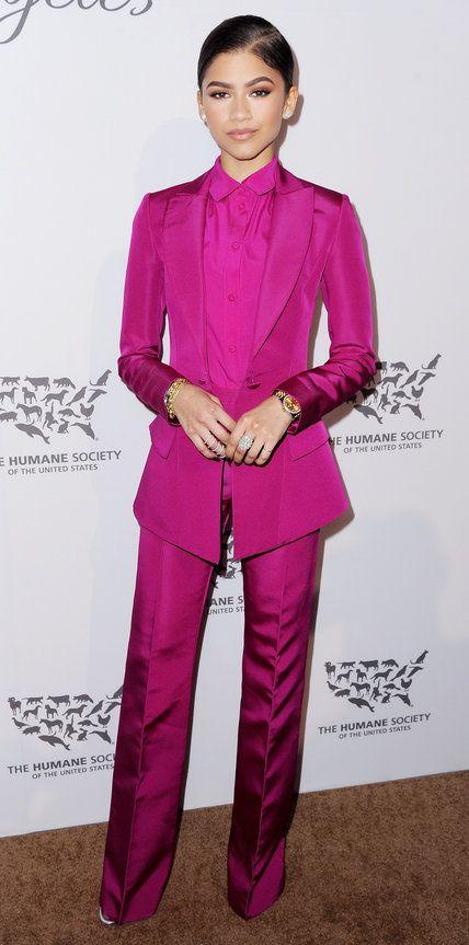 Zendaya in a pink pant suit