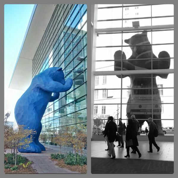 Colorado Convention Center With Lawrence Argent Sculpture: The Blue Bear Looking In At The Denver Convention Center