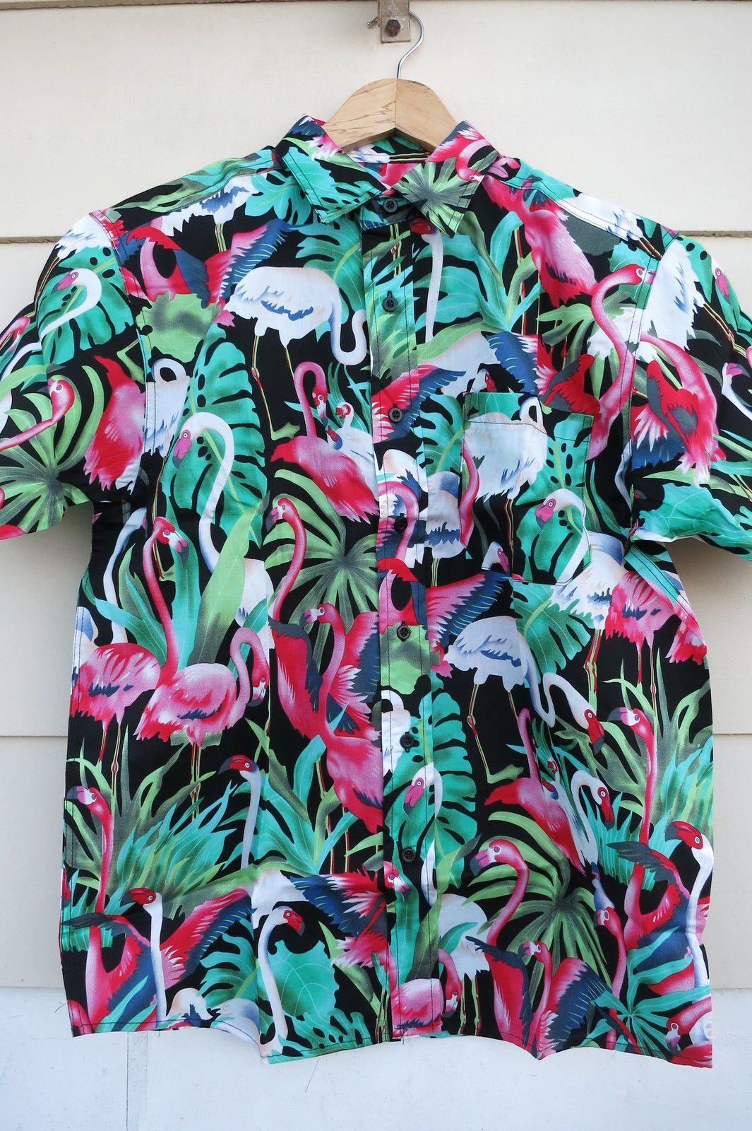 b7db0585 Hawaiian Shirt Tiki Flamingo Hot Rod 50s Rockabilly Green Pink White S-2XL  Mens in Clothing, Shoes, Accessories, Men's Clothing, Casual Shirts | eBay