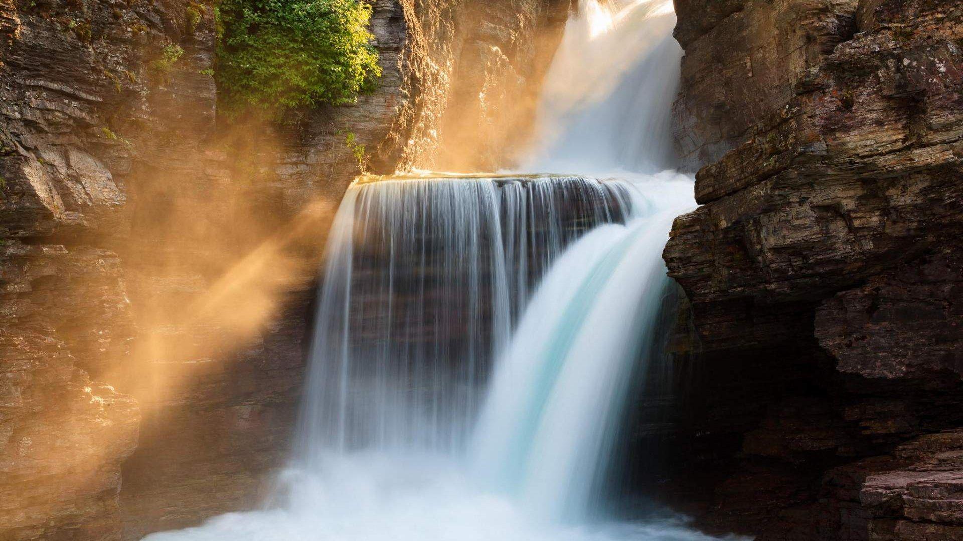 20 Gorgeous Hd Waterfall Wallpapers: Glacier Park Beautiful Waterfall Wallpaper HD [1920 1080