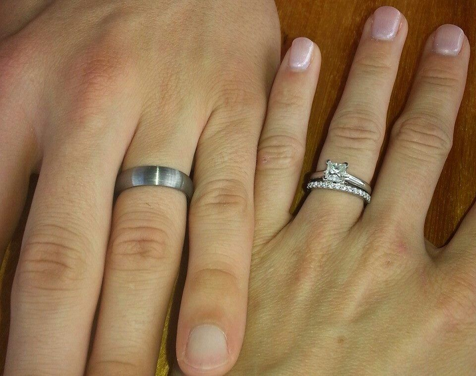 costco wedding rings 1 ct princess cut solitaire with diamond wedding band - Costco Wedding Ring