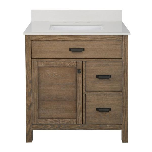 Stanhope 31 In W X 22 In D Vanity In Reclaimed Oak And Engineered Stone Vanity Top In Creamed Coffe In 2020 Reclaimed Wood Vanity 24 Inch Bathroom Vanity Wood Vanity