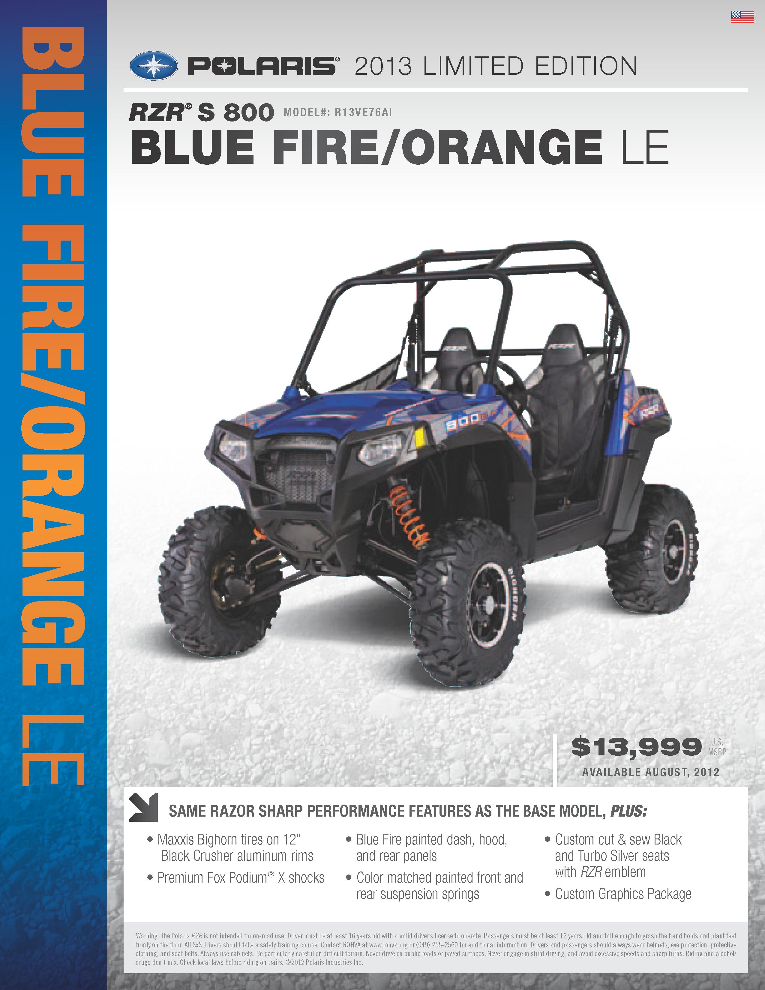 2013 Polaris Ranger RZR S 800 - blue fire and orange LE