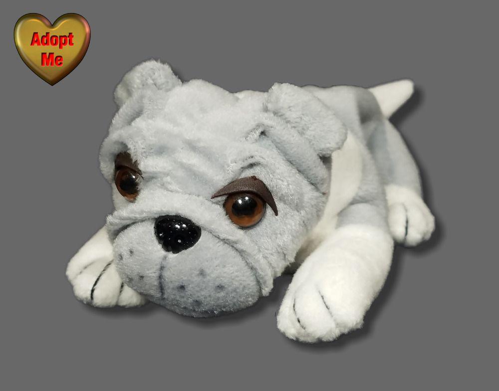 Plushland Laying Grey White Bulldog Puppy Dog Stuffed Plush Beanie