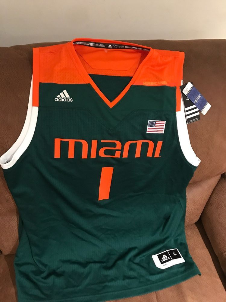 Adidas Miami Hurricanes Canes Ncaa Basketball Jersey NWT Size XL Men ... ec792b328