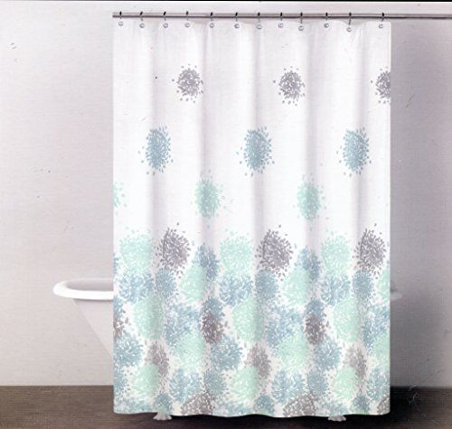 Dkny Brushstroke Floral Fabric Shower Curtain 72 X 72 Reef Blue