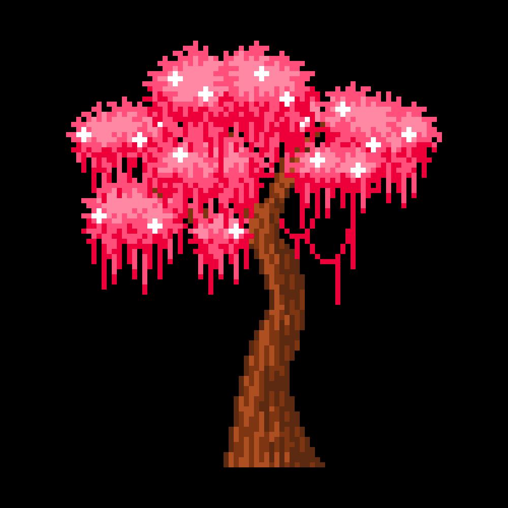 Just A Simple Pixel Tree Easy Pixel Art Cherry Blossom Petals Pixel Art