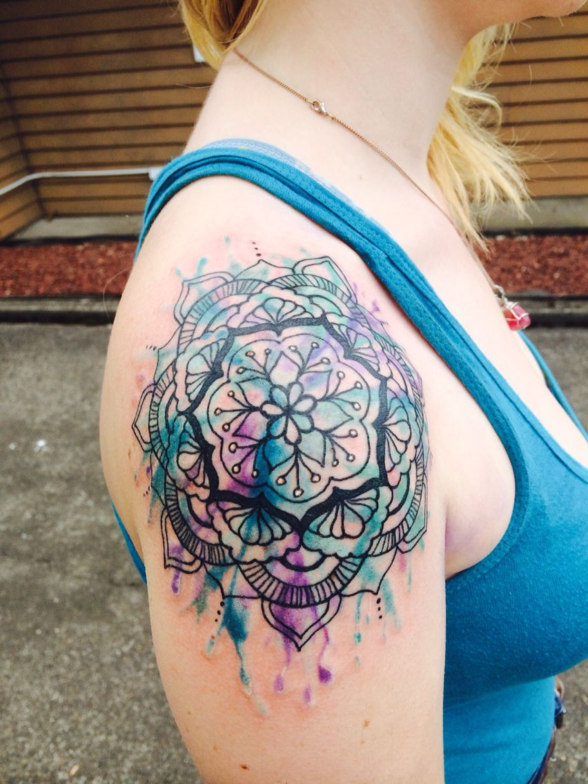Watercolor Mandala Tattoo Colorful Mandala Tattoo Mandala