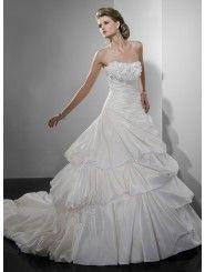 Bordeaux Taffeta Strapless Neckline Ball Gown Wedding Dress