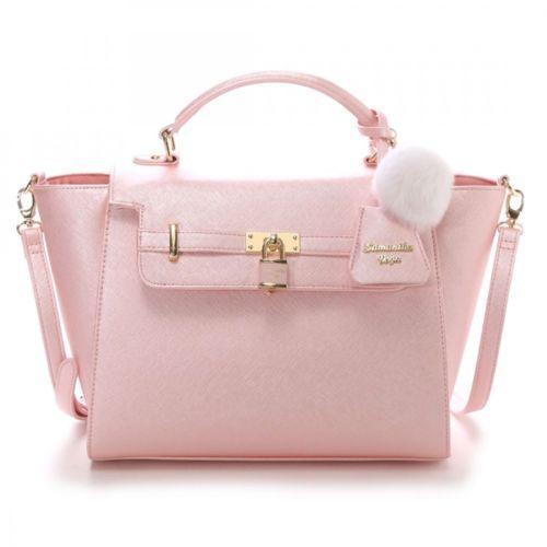 e7a6f47da9a4 Samantha-Thavasa-Vega-2WAY-Padlock-Far-Charm-Handbag-Shoulder-Bag-Large- JAPAN