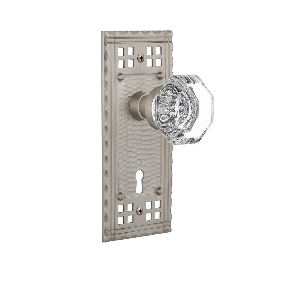 Craftsman Plate with Keyhole 2-3/8 in. Backset Satin Nickel Passage Waldorf Door Knob