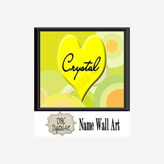 Baby Girl Name Wall Art, Heart Name Wall Art, Girls Wall Art, Kids ...