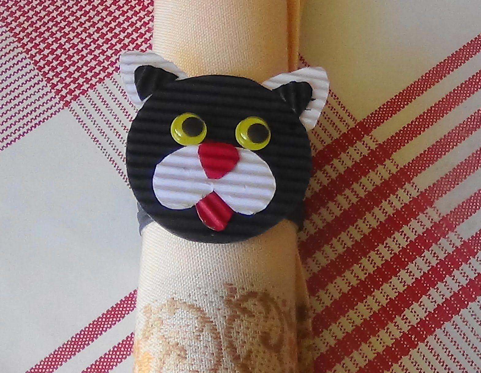 tuto activit pour enfant rond de serviette chat deco. Black Bedroom Furniture Sets. Home Design Ideas