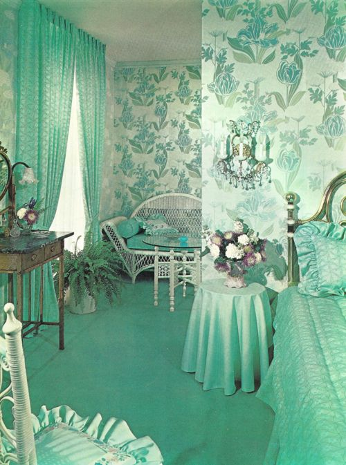 Turquoise Bedroom, Vintage, Retro, Interior, Interior Design, Blue, Baby  Blue, Green, Mint Green, Mint, Decor, Design, Luxury, 1950s, 50u0027s, Pinup,  Glamour