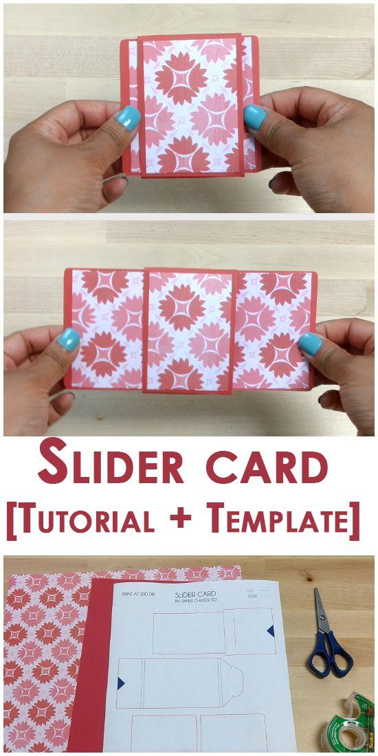 Tutorial Template Slider Card Slider Cards Card Templates Printable Box Cards Tutorial