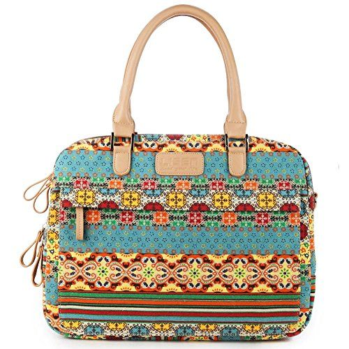 BRINCH® Fashion Bohemian Style Canvas Fabric Soft Foam Bubble Padded 14.1 inch Woman Laptop Sleeve Messenger Bag Briefcase Handbag with Shoulder Strap and Various Pockets,Ultra Protective for 14-14.1 inch Laptop / Notebook Computer / MacBook Air / MacBook Pro (14-14.1 Inches,Bohemian Style)