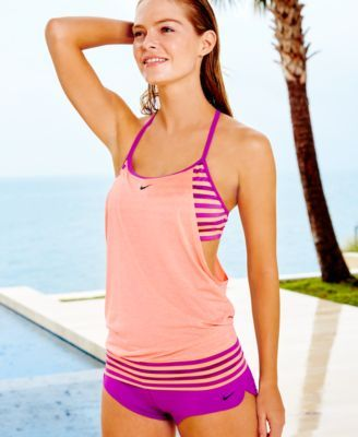 a7f5997cd569c Nike Evenflow Active Tankini Top   Striped Active Swim Boyshorts - Swimwear  - Women - Macy s