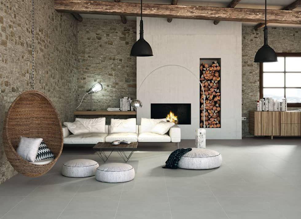 Fotos de paredes y suelos de estilo moderno  salón contemporáneo - paredes de cemento